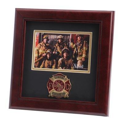 """Firefighter Medallion 4x6"""" Photo 10x10"""" Frame"""