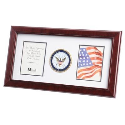 "Navy Medallion Double 4x6"" Photo 10x18"" Frame"