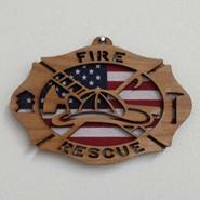 Fire Rescue Wood Plaque 4x6in