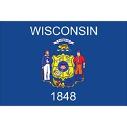 4x6in Mounted Wisconsin Flag