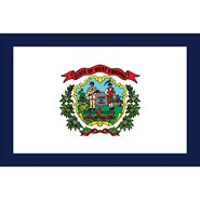 4x6in Mounted West Virginia Flag