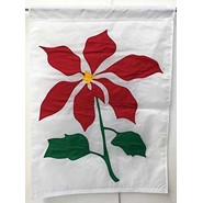 Red Poinsettia 28x40in Applique Banner