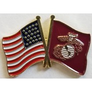 Marine Flag U.S. Flag Double Pin
