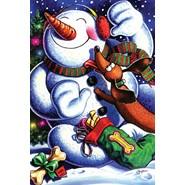 Snowman's Best Friend 12x18in Garden Flag