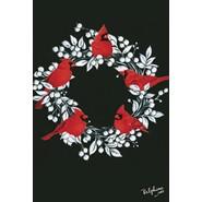 Cardinal Wreath 12x18in Garden Flag