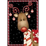 Candy Cane Reindeer 28x40in House Flag